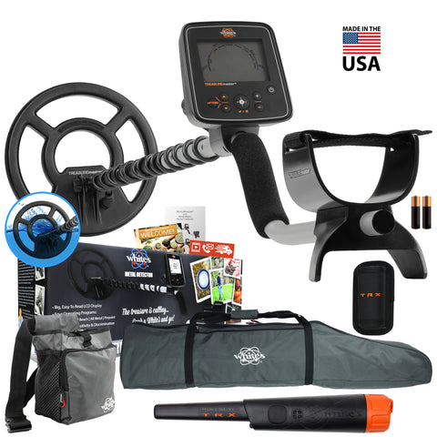 Whites Treasuremaster Metal Detector w/ Waterproof Coil, Bullseye TRX and More
