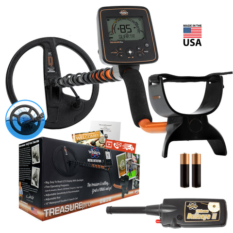 Whites TreasurePro Metal Detector Summer Bundle with Bullseye II Pinpointer