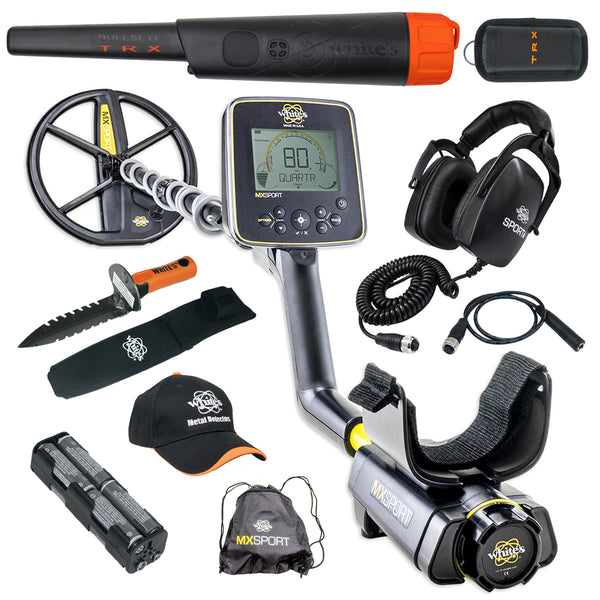 Whites MX Sport Metal Detector GEARED UP Bundle w/ Bullseye TRX Pinpointer