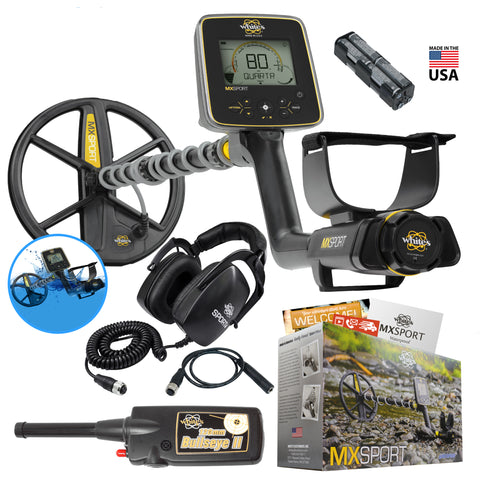 Whites MX Sport Waterproof Detector Summer Bundle w/ Bullseye II Pinpointer