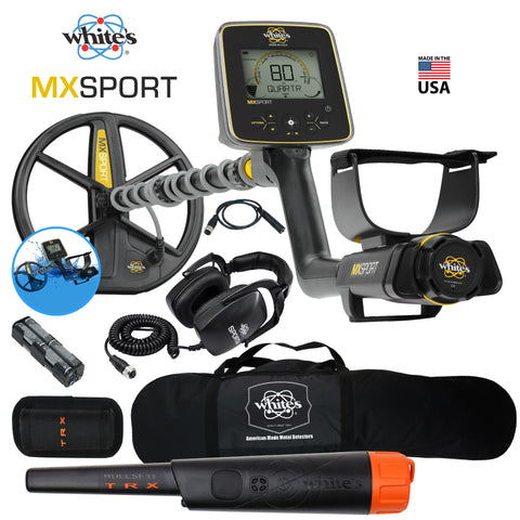 "Whites MX Sport Underwater Metal Detector, 10"" DD Coil, Bullseye TRX, Carry Bag"