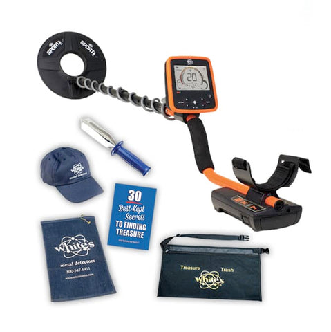 Whites MX7 Metal Detector Spring Bundle with Trowel, Hat, & More