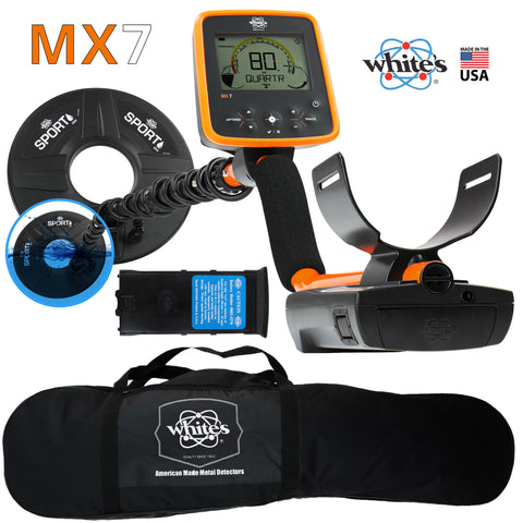 "Whites MX7 Weatherproof Metal Detector with 9.5"" Search Coil and Carry Bag"