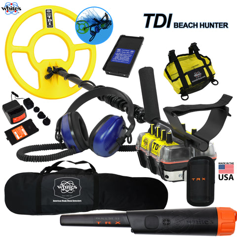 Whites TDI BeachHunter Extreme PI Underwater Detector w/ Bullseye TRX, Carry Bag