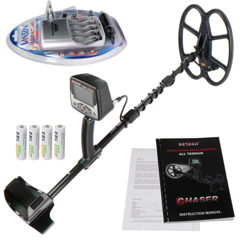 "Detech Chaser 14kHz VLF metal detector, 12x10"" Ultimate Coil & Ni-MH Charger"
