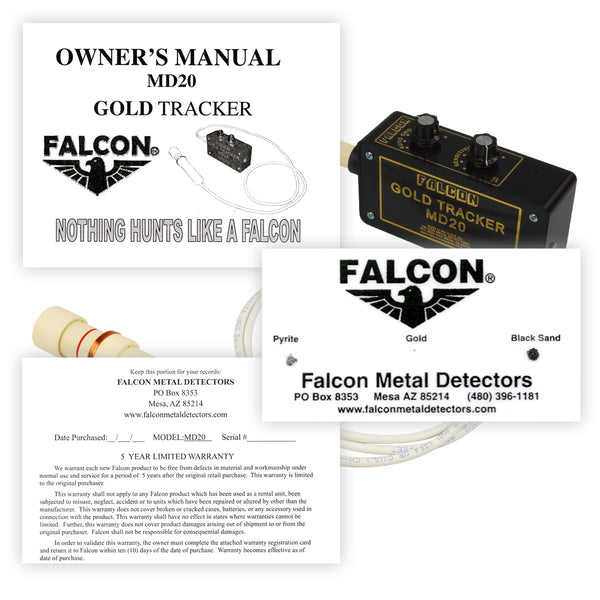 Falcon Gold Tracker MD20 Metal Detector 300kHz w/ Handle, Headphones & Holster