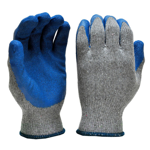 Deluxe String Knit Palm Rubber Dipped Gloves, Blue
