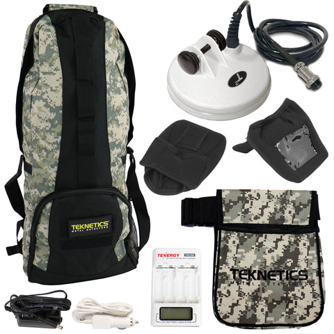 "Teknetics T2 Accessory Bundle with 5"" DD Coil, Camo Pouch, Backpack, Cap & More"
