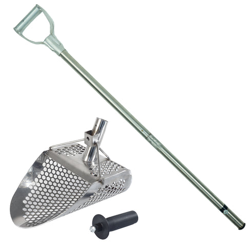 "Dune Hydra 11"" x 8"" Stainless Metal Detector Sand Scoop with 2 mount options & Collapsible Stainless Steel Handle Universal Pole"