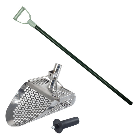 "Dune Hydra 11"" x 8"" Stainless Metal Detector Sand Scoop with 2 mount options & Carbon Fiber Rod with Aluminum Handle"