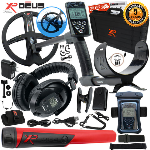 XP Deus Metal Detector w/ MI-6 Pinpointer, Headphones, Remote, X35 Coil & more