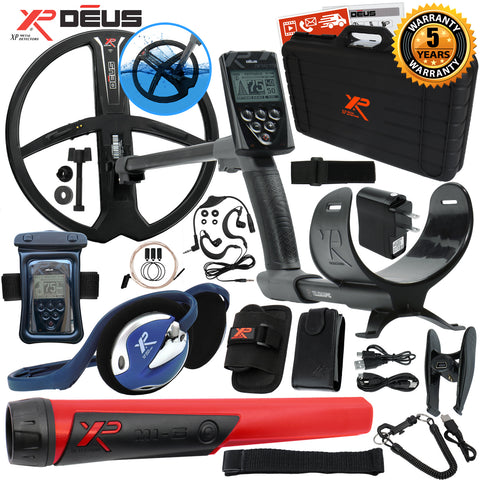 XP Deus Metal Detector w/ MI-6 Pinpointer, Backphones, Remote, X35 Coil & more