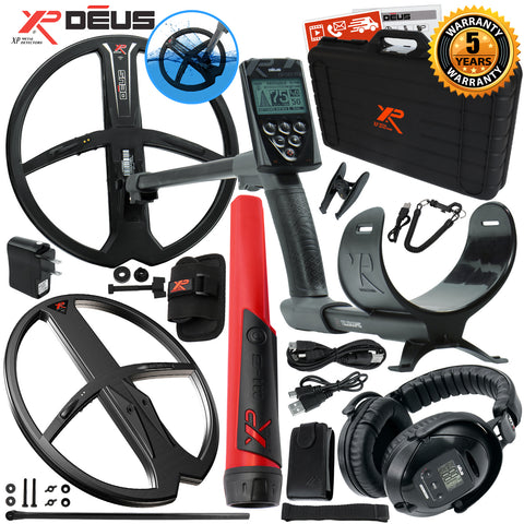 XP Deus Metal Detector w/ MI-6 Pinpointer, Headphones, Remote and 2 X35 Coils
