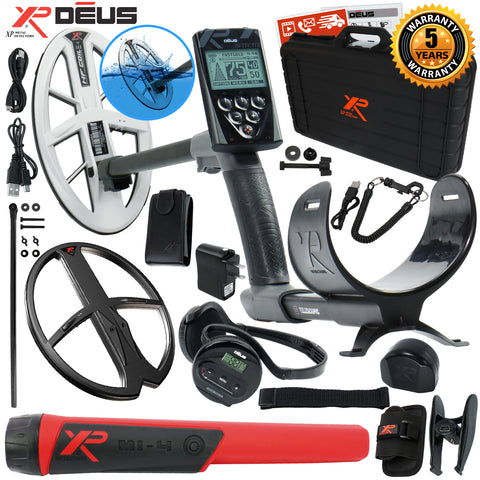 "XP Deus Metal Detector w/ MI-4 Probe, Case, WS4 Earphone, Remote, 9.5"" HF Coil +"
