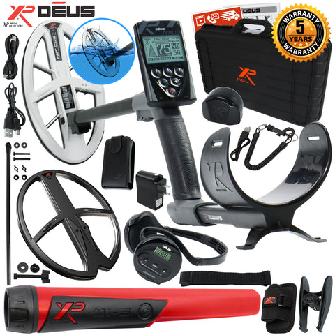 "XP Deus Metal Detector w/ MI-6 Probe, Case, WS4 Earphone, Remote, 9.5"" HF Coil +"