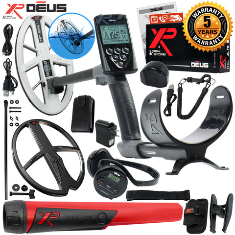 "XP Deus Metal Detector w/ MI-6 Probe, WS4 Earphones, Remote, 9.5"" HF & 13"" Coil"