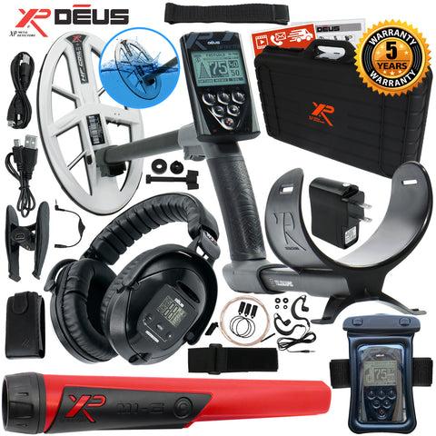 "XP Deus Metal Detector w/ MI-6 Probe, WS5 Headset, Remote, Case, 9.5"" HF Coil +"