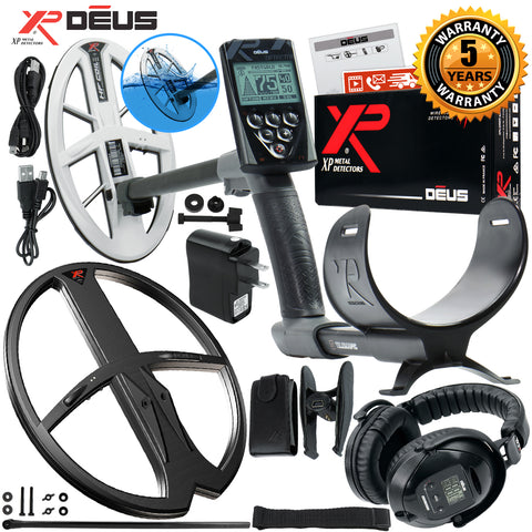 "XP Deus Metal Detector, WS5 Headset, Remote Control, With 9.5"" HF & 11x13"" Coils"