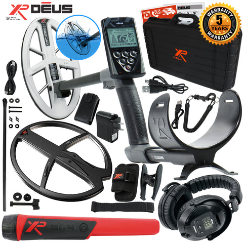 "XP Deus Metal Detector, MI-4 Probe, Case, WS5 Headset, Remote, 9.5"" HF & more"