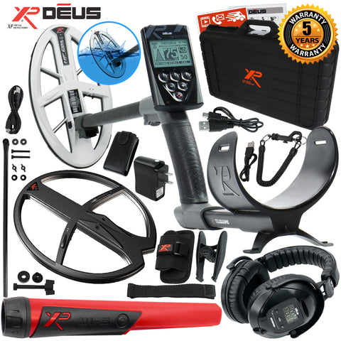"XP Deus Metal Detector, MI-6 Probe, Case, WS5 Headset, Remote, 9.5"" HF & more"