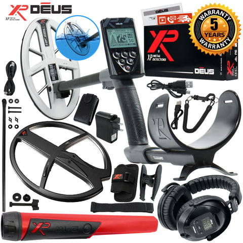 "XP Deus Metal Detector w/ MI-6 Probe, WS5 Headset, Remote & 9.5"" HF Coil & More"