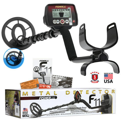 "Fisher F11 Metal Detector with 7"" Waterproof Search Coil"