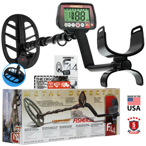 "Fisher F44 Metal Detector with 11"" DD Waterproof Search Coil and 5 Year Warranty"