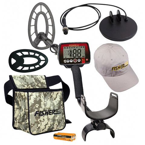 "Fisher F44 Metal Detector Bundle w/ 11"" Coil, Coil Cover, Cap, Pouch & 4"" Coil"
