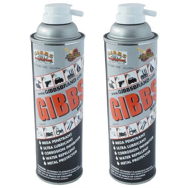 Gibbs Brand Lubricant, Penetrant, Water Repellent, 12 oz Spray Can, Set of 2