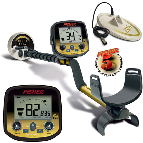 "Fisher Gold Bug Pro Metal Detector with 5"" & 11"" Coil Pack and 5 Year Warranty"