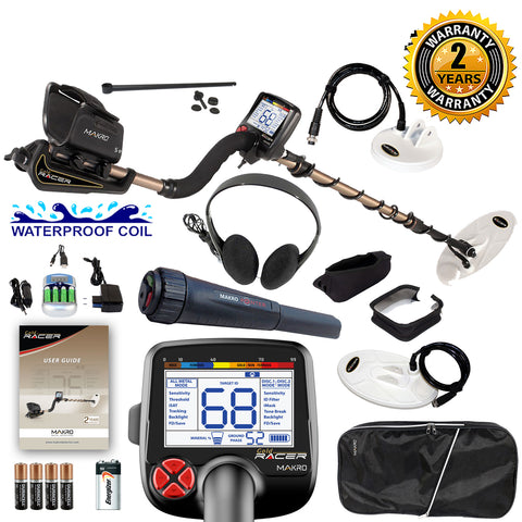 Makro Gold Racer Metal Detector Pro Package 2 Waterproof Coils & Pinpointer
