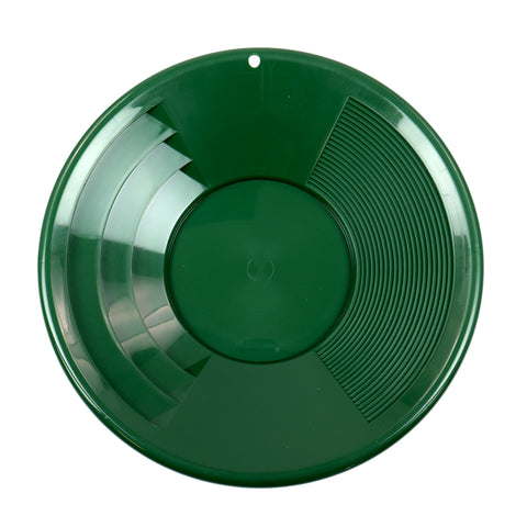 "12"" GREEN Plastic Gold Pan w/ Shallow & Deep Riffles for Gold Prospecting"