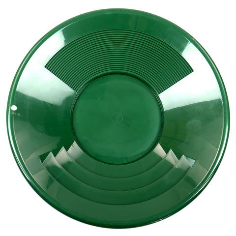 "14"" GREEN Plastic Gold Pan w/ Shallow & Deep Riffles for Gold Prospecting"