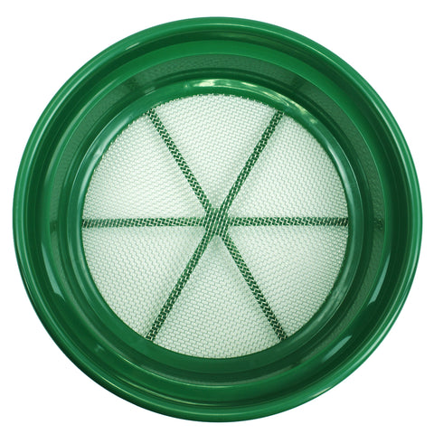 "Green Plastic 13-1/4"" Gold Sifting Pan Classifier 1/8 Inch Mesh Size"