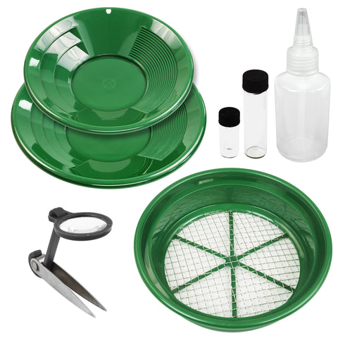 7 Piece Prospecting Mining Panning Kit Classifier & 2 Mesh Gold Sifting Pans