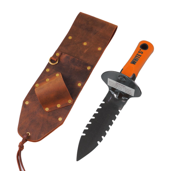 Brown Leather Sheath RIGHT sided, Whites DigMaster Digging Tool & TRX Pinpointer
