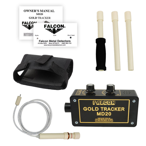 Falcon Gold Tracker MD20 Metal Detector 300kHz Probe with 3pc Handle & Holster