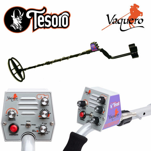 "Tesoro Vaquero Black Metal Detector w/ 11"" x 8"" Search Coil"