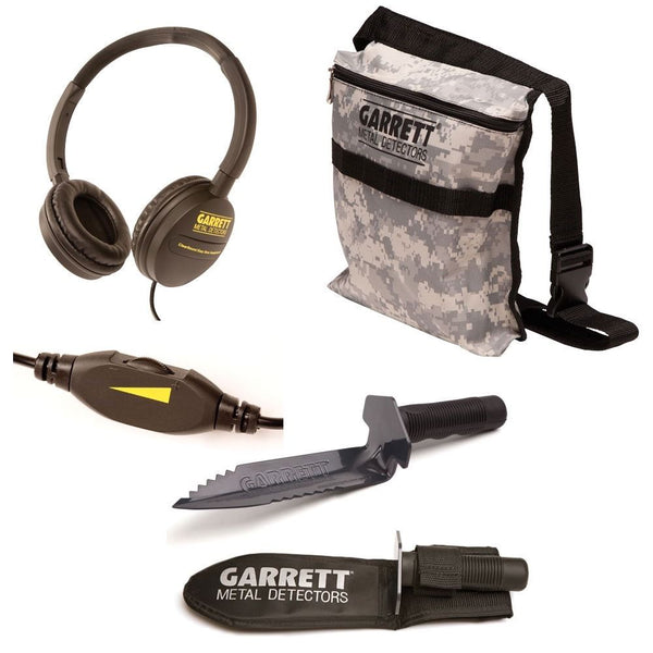 Garrett Edge Metal Detector Digger, Camo Finds Pouch and ClearSound Headphones