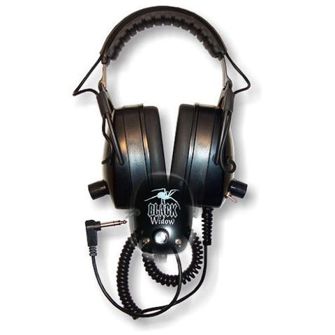 "DetectorPro Black Widow Metal Detector Headphones, 1/4"" Angle Plug"