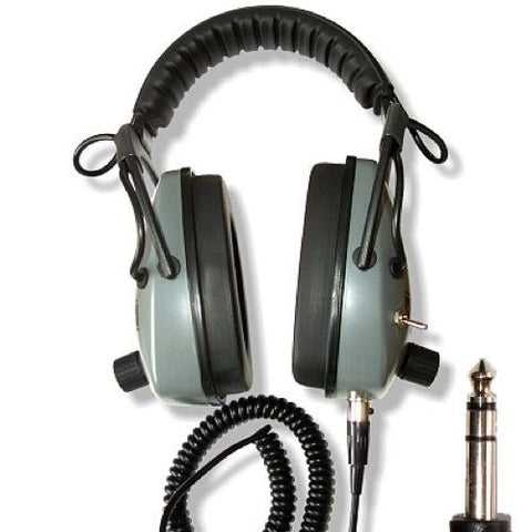 "DetectorPro Gray Ghost NDT Headphones & 2 Coil Cables with 1/4"" Angle Plug for Metal Detector"