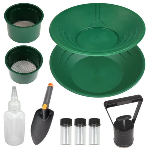 "10"" & 14"" Green Plastic Gold Pans, Sifting Pans, Sniffer Bottle, Trowel & More"