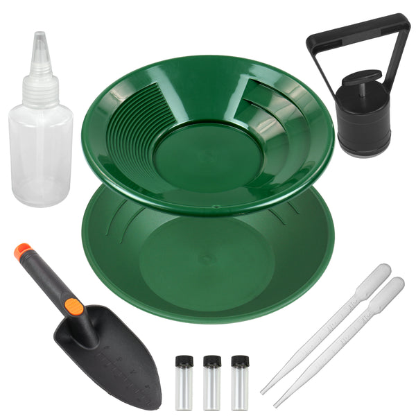 10 pc Green Plastic Gold Pan, Pick Up Tool, Glass Vials, Droppers, Trowel & More