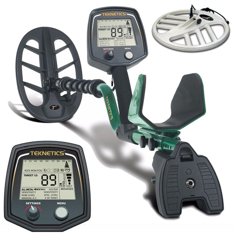 "Teknetics T2 Classic Metal Detector with Two Waterproof Search Coils 11"" and 15"""