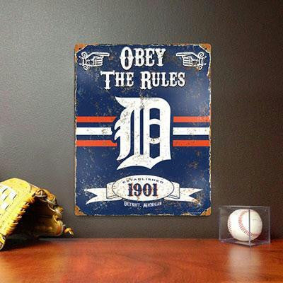 Tigers Embossed Metal Sign