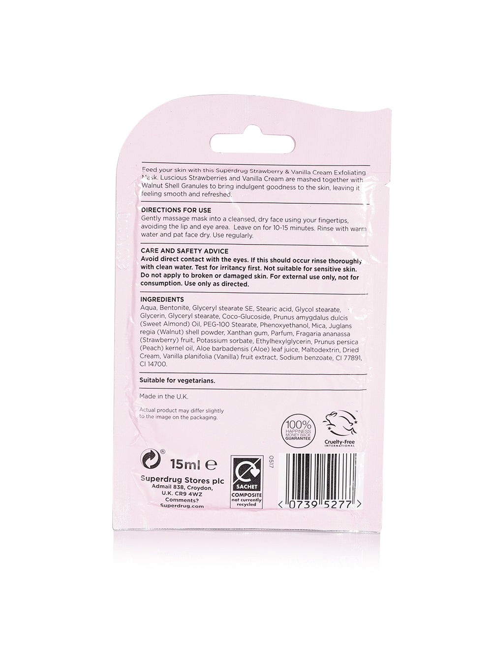 Superdrug Strawberry and Cream Face Mask 15ml