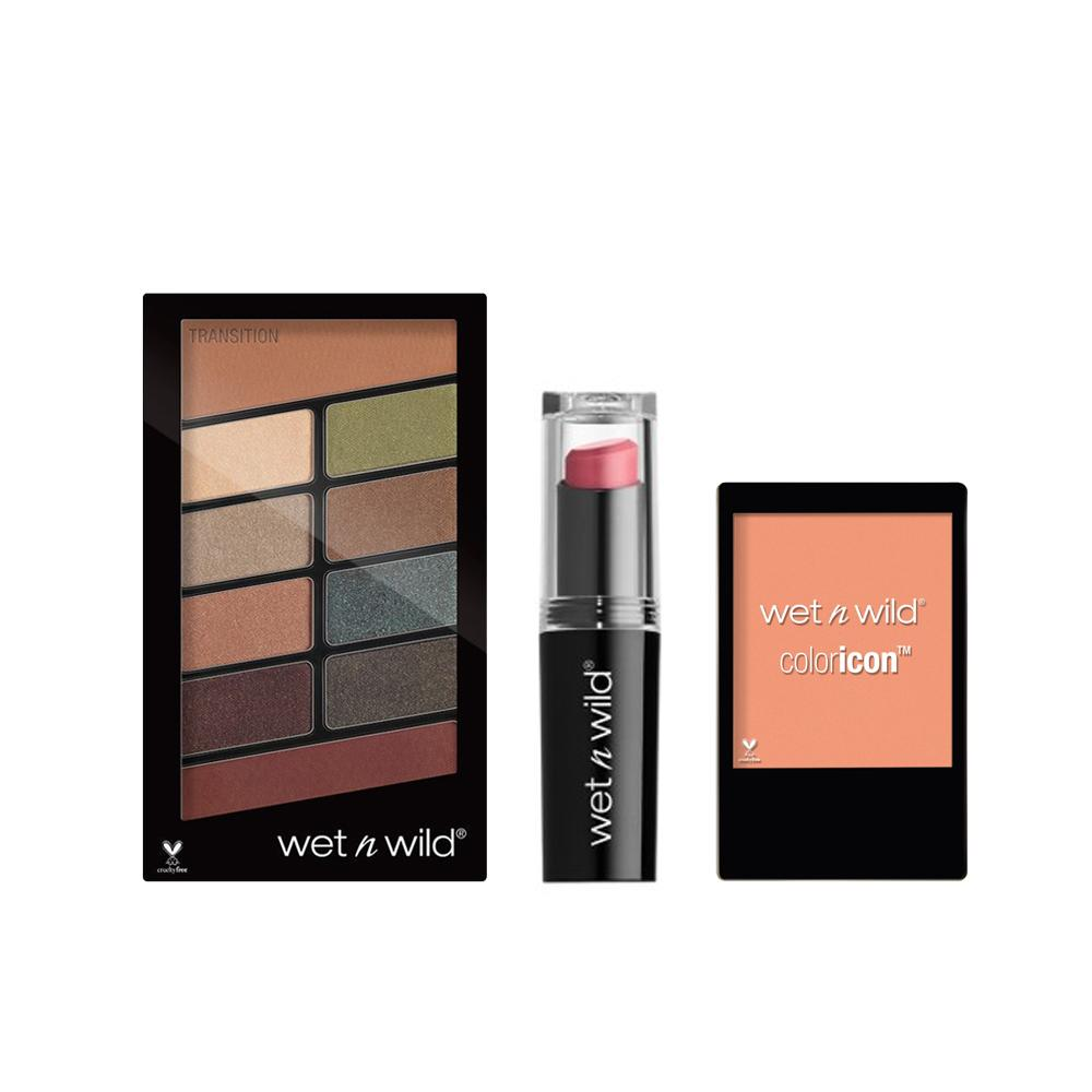 Wet n Wild Color Icon 10 pan palette - Comfort Zone + MEGALIST LIP COLOR: Don't Blink Pink + Color Icon Blush -Apri-cot In The Middle Combo CLR