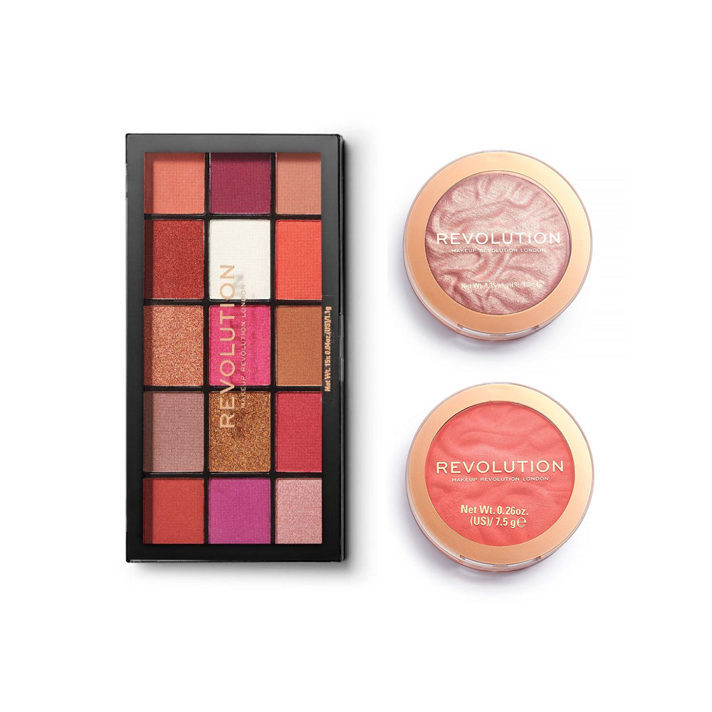 Makeup Revolution Reloaded Palette Red Alert + Blusher Reloaded Coral Dream + Reloaded Highlighter Make an Impact (CLR)