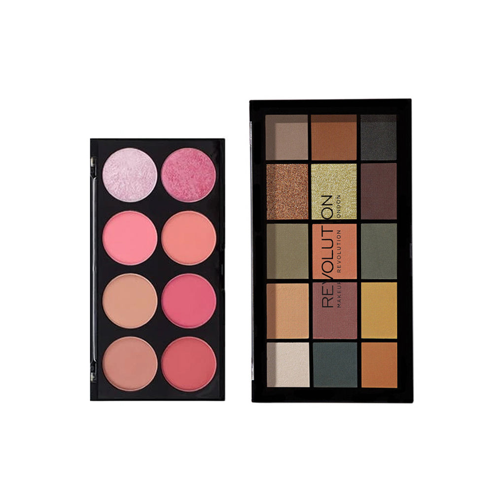 Makup Revolution Ultra Blush Palette Sugar and Spice + Makeup Revolution Re-Loaded Palette - Division (CLR)
