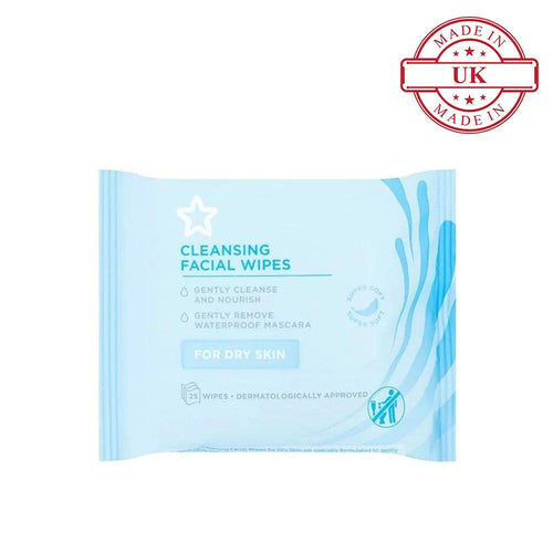 Superdrug Essential Facial Cleansing Wipes X25 (For Dry Skin)